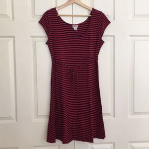 Red and Blue Striped Maternity Dress